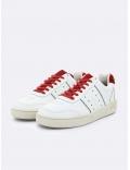 Basket en cuir blanche et rouge