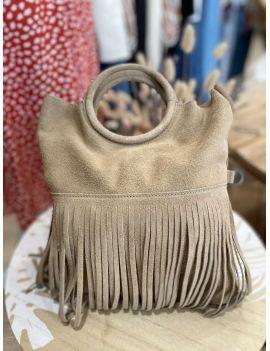 petit sac à franges en croute de cuir