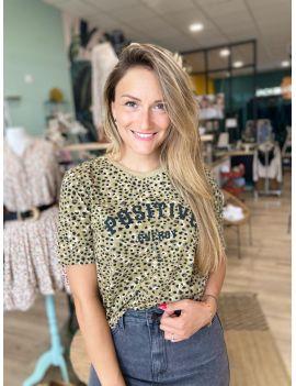 T-shirt col rond imprimé léo Positive Energy