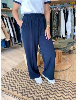 pantalon wide leg élastique à la taille