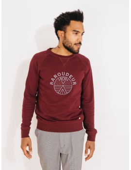 Sweat col rond en coton bordeau