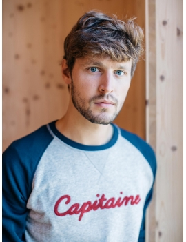 Sweat capitaine en coton gris et marine