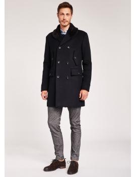 Manteau à col effet fourrure