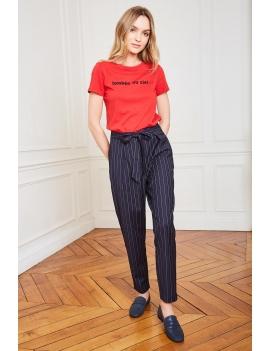 Pantalon rayé taille haute