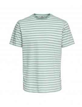 Tee shirt à rayures turquoise